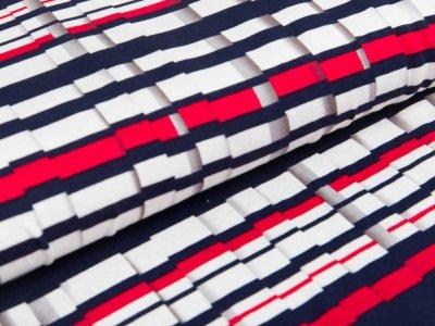 Jersey Viskose - Streifenmuster - schwarz/weiß/rot