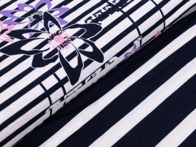 KDS Queen's Collection Jersey Viskose PANEL ca. 77cm x 155cm - Blumen auf Streifen - nachtblau/weiß/rosa/lila