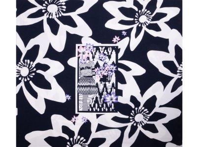 KDS Queen's Collection Jersey Viskose PANEL ca. 70cm x 155cm - Dame mit Blumenkopf - nachtblau/weiß/rosa/lila