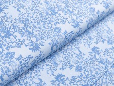 Webware Baumwolle by Klaranähta - florales Muster - blau