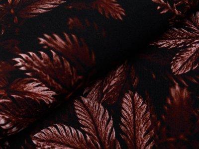 Webware Viskose Swafing Dark Leaves by Thorsten Berger - Herbstblätter - schwarz/rotbraun