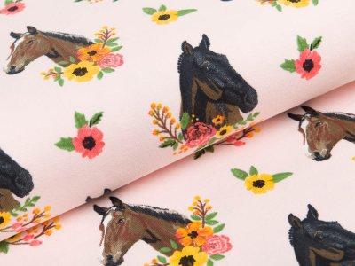 Sweat French Terry - Pferde und Sommerblumen - rosa