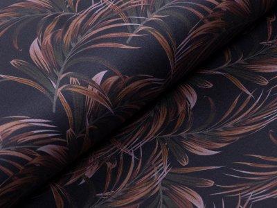 Elastischer Jeansstoff bedruckt - Palmenwedel - schwarz