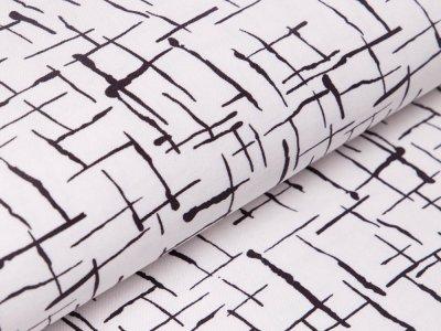 Bengaline Stretch-Stoff - Abstrakte-Striche - wollweiß