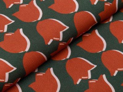 Webware Viskose Swafing #lovelyfavs Glowing Retro Tulip by Cherry Picking - 3D Tulpen - olivegrün