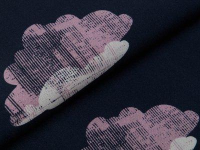 Webware Viskose Swafing Glowing  Clods by Käselotti - schraffierte Wolken - nachtblau/rosa