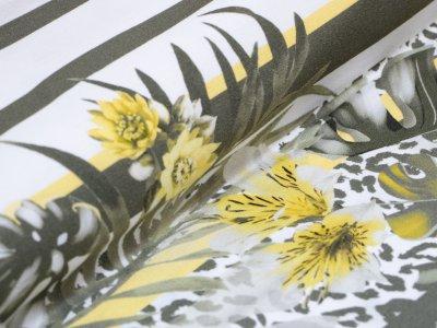 KDS Queen's Collection - Viskose Crêpe Georgette PANEL ca. 100cm x 160cm - Lilien auf Streifen - weiß/olive