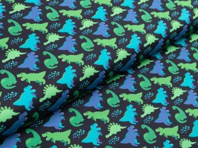 Webware Baumwolle Swafing Kim - verschiedene Dinos - schwarz
