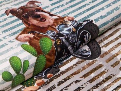 Jersey Digitaldruck Stenzo PANEL ca. 75 cm x 150 cm - Hund auf großer Motoradtour - graugrün