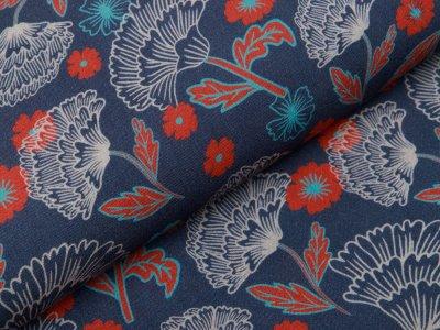 Webware Viskose Swafing Mable by Jolijou - Ginkgo-Blüten - jeansblau