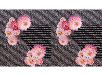 KDS Queen's Collection - Viskose Jersey PANEL ca. 140cm x 80cm - Blüten auf kariertem Hahnentrittmuster - schwarz/weiß/pink