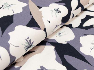 Interlock - Große Abstrakte Blüten - blau/beige