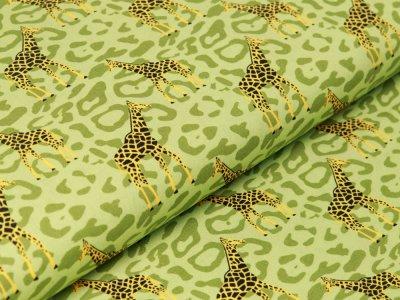 Webware Baumwolle Popeline - Giraffen auf Animalprint - grün