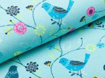 Sweat French Terry - Blumen und Vögel - helles blau