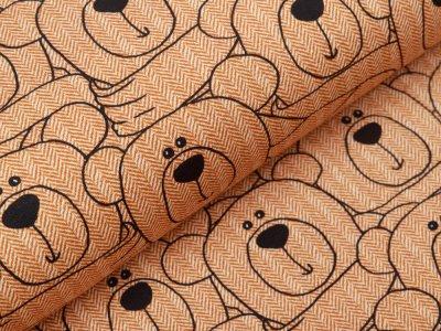 Sweat French Terry Swafing Sweet Bears - Bären auf Fischgrät-Muster - altorange