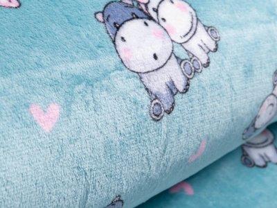 Wellnessfleece - niedliche Babynilpferde - mint