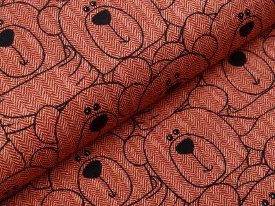 Sweat French Terry Swafing Sweet Bears - Bären auf Fischgrät-Muster - steinrot