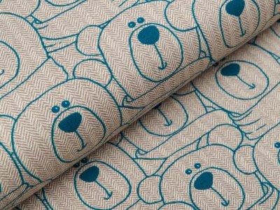 Sweat French Terry Swafing Sweet Bears - Bären auf Fischgrät-Muster - beige/blau