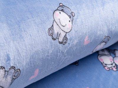 Wellnessfleece - niedliche Babynilpferde - blau