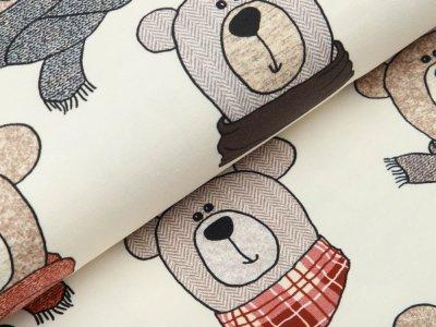 Sweat French Terry Swafing Sweet Bears - Bären mit modischen Schals - wollweiß