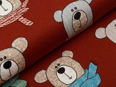 Sweat French Terry Swafing Sweet Bears - Bären mit modischen Schals - ziegelstein