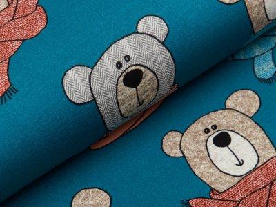 Sweat French Terry Swafing Sweet Bears - Bären mit modischen Schals - altpetrol