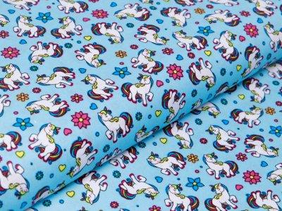 Webware Baumwolle Popeline - Einhörner und Blumen - helles blau
