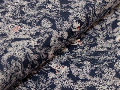 Interlock - Winterliche Waldtiere - dunkelblau