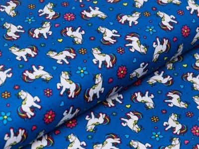 Webware Baumwolle Popeline - Einhörner und Blumen - indigoblau