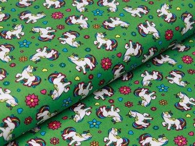 Webware Baumwolle Popeline - Einhörner und Blumen - grün