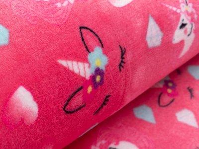 Wellnessfleece - hübsche Einhörner und Herzen - pink