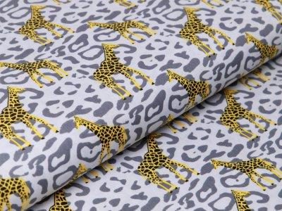 Webware Baumwolle Popeline - Giraffen auf Animalprint - grau