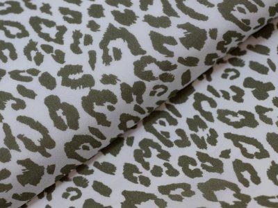 KDS Queen's Collection - Webware Viskose - Animalprint - weiß/olive