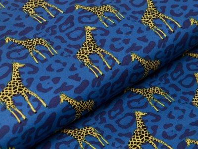 Webware Baumwolle Popeline - Giraffen auf Animalprint - blau