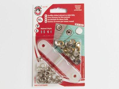 Metall Druckknopf Set 11mm 15 Stück - nickel