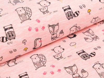 Jersey - Waldtiere meliert - rosa