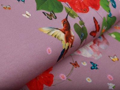 Jersey PANEL ca. 95 cm x 155 cm - große Blumen und Kolibris - altrosa