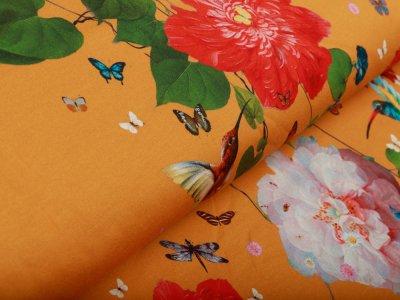 Jersey PANEL ca. 95 cm x 155 cm - große Blumen und Kolibris - ocker