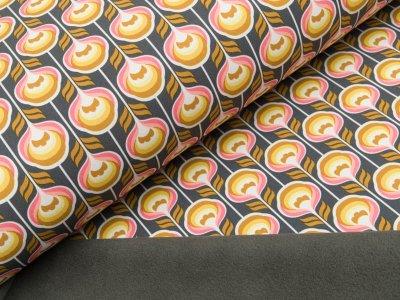 Jackenstoff Softshell - Retroblumen - dunkles grau/gelb