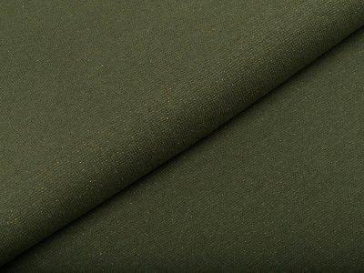 Glattes Bündchen im Schlauch 70 cm mit Glitzerfäden - uni olive/goldfarben