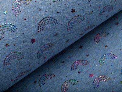 Alpenfleece Melange mit Foliendruck - Regenbogentautropfen - meliert jeansblau