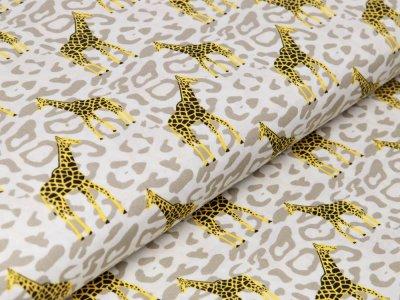 Webware Baumwolle Popeline - Giraffen auf Animalprint - beige