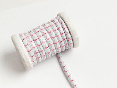 Runde Leder Kordel mit Druck Ø 7 mm - Flamingos - helles mint