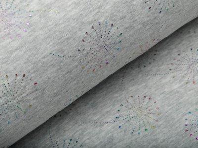 Alpenfleece Melange mit Foliendruck - Regenbogenpusteblumen - meliert grau