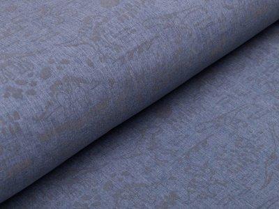 Reflektierender Nano Softshell Jackenstoff Swafing Pandero - Dinos - meliert jeansblau