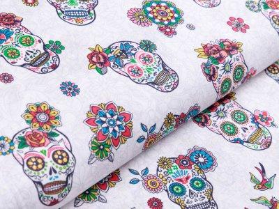 Webware Baumwolle Swafing Robert - florale Skulls - weiß
