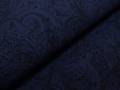 Elastischer Jeansstoff bedruckt - verschnörkelte Ornamente - dunkelblau