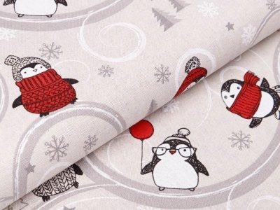 Dekostoff in Leinenoptik Swafing Jochen - eingemummelte Pinguine - natur