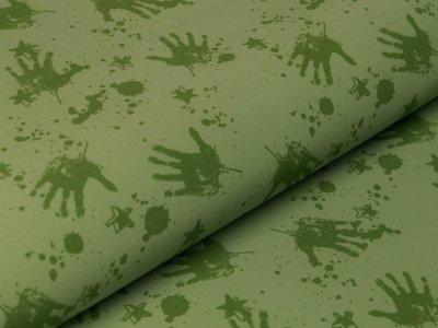 Softshell  Jackenstoff - Handabdrücke und Sterne - kiwi
