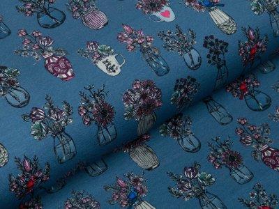 Sweat French Terry Swafing All my Flowers by Lila-Lotta - Blumensträuße in Vasen - jeansblau
